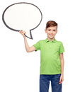 Happy boy holding blank white text bubble banner Royalty Free Stock Photo