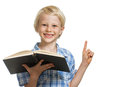 Happy boy holding book and pointing a smiling young a to copy space isolated on white Stock Image