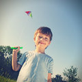 Happy boy with kite outdoors Royalty Free Stock Photography