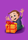 Happy boy kneeling receiving a box with a ribbon raising his hands cartoon yellow red probably christmas or birthday gift Stock Photos
