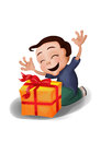 Happy boy kneeling receiving a box with a ribbon raising his hands cartoon yellow red probably christmas or birthday gift Royalty Free Stock Photo