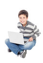 Happy boy with the laptop Royalty Free Stock Photo