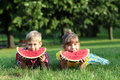 Happy boy and little girl with watermelon lying on grass Stock Photos