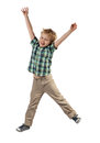 Happy boy little jumping isolated on white background Royalty Free Stock Photo