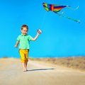Happy boy playing with kite on summer field colorful Royalty Free Stock Photos