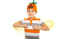 Happy boy with pumpkin hat Royalty Free Stock Photos