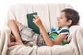 Happy boy reading book Royalty Free Stock Photography