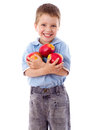 Happy boy with red apples Stock Photo
