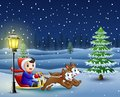 Happy boy riding on a sleigh pulled by two dog at winter night Royalty Free Stock Photo