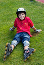 Happy boy in roller blades Stock Images