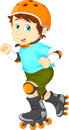 Happy boy on roller skate