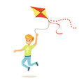 Happy boy running with his flying kite, kids outdoor activity colorful character vector Illustration Royalty Free Stock Photo