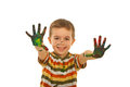 Happy boy showing painted hands Royalty Free Stock Photo