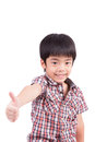 Happy boy showing thumbs up gesture isolated on white background Royalty Free Stock Photo