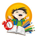 Happy boy and stationery vector school illustration on white Royalty Free Stock Images