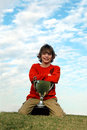 Happy boy with trophy Royalty Free Stock Photo