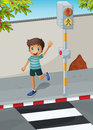 A happy boy waving his hand near the pedestrian lane illustration of Stock Photo