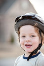 Happy boy wearing bike helmet Royalty Free Stock Photo