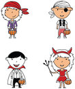 Happy boys and girls in Halloween costumes.