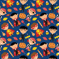 Happy boys in Halloween costumes with sweets seamless pattern.