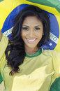 Happy brazil soccer football fan beautiful smiling Stock Photos