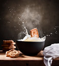 Happy Breakfast with cookies and milk Royalty Free Stock Photo