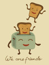 Happy breakfast illustration of bread jumping from the toaster Royalty Free Stock Image