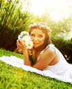 Happy bride on the grass Stock Image