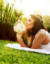 Happy bride on the grass Royalty Free Stock Photo