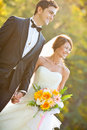 Happy bride and groom Royalty Free Stock Photos