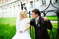 Happy bride and groom around fence of castle Royalty Free Stock Images