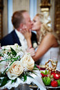 Happy bride and groom in banquet Royalty Free Stock Photo
