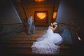 Happy bride and groom in the modern hall hotel Royalty Free Stock Photos
