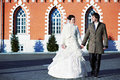 Happy bride and groom near beautiful palace Royalty Free Stock Image