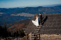 Happy bride and groom on the roof of country house breathtaking mountain landscape background Stock Photography