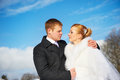 Happy bride and groom sky background on wedding day Royalty Free Stock Photography