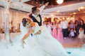 Happy bride and groom their first dance Royalty Free Stock Photo