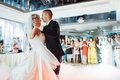 Happy bride and groom their first dance, wedding Royalty Free Stock Photo