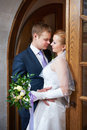 Happy bride and groom together in wedding day Royalty Free Stock Photo