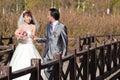 Happy bride and groom walking over bridge (1) Stock Image