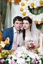 Happy bride and groom in wedding banquet Royalty Free Stock Photo