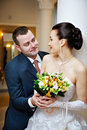 Happy bride and groom in wedding day Royalty Free Stock Photo