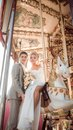 Happy bride and groom in wedding day this image has attached release Stock Image
