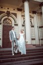 Happy bride and groom in wedding day this image has attached release Stock Images