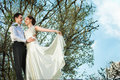 Happy bride and groom at the wedding walk in front of blue sky tree Stock Image
