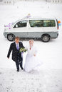 Happy bride and groom in winter snowy day about wedding car Royalty Free Stock Images