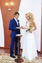 Happy bride wears wedding ring her groom solemn registration of marriage Royalty Free Stock Image