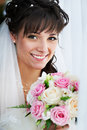 Happy bride with weding bouquet Royalty Free Stock Photos