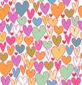 Happy bright abstract love pattern cute cartoon backdrop with doodle hearts seamless textile surface texture Royalty Free Stock Photography