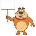 Happy Brown Bulldog Cartoon Mascot Character Holding A Blank Sign